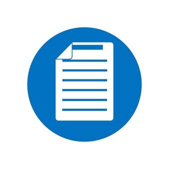 Ícone azul em um fundo branco. ícone do documento do símbolo. ilustração em vetor estilo simples isolada no fundo branco