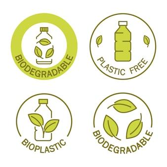 Ícone biodegradável de garrafa de plástico com folhas verdes produção de material compostável ecológico