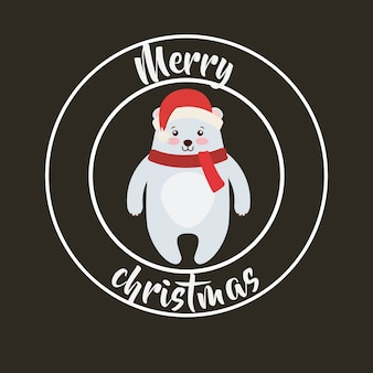 Ícone bonito do animal feliz natal isolado