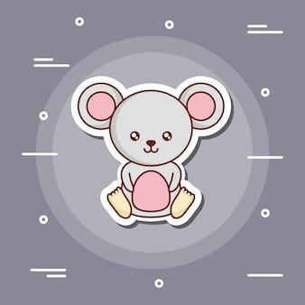Ícone bonito do mouse sobre fundo cinza