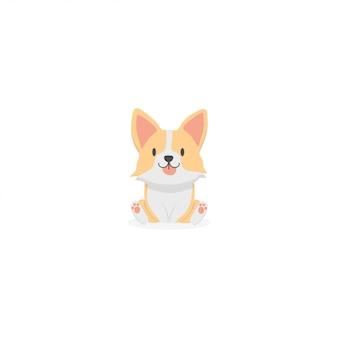 Ícone bonito dos desenhos animados do filhote de cachorro do corgi
