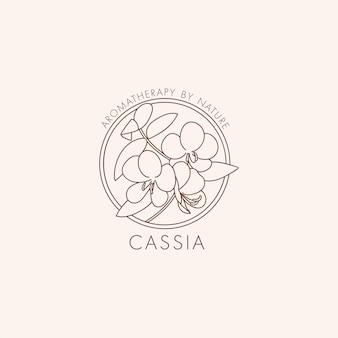 Ícone botânico linear de vetor e logotipo de design de cássia de símbolo para cosmeti natural de cássia de óleo essencial ...