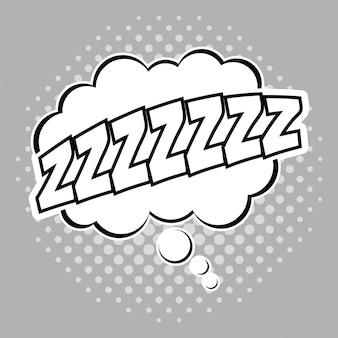 Ícone bubble pop art sleep. comic communication retro e expression theme