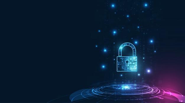 Ícone cadeado com fechadura na segurança de dados pessoais ilustra a idéia de privacidade de dados ou informações cibernéticas. azul cor resumo oi velocidade internet tecnologia.