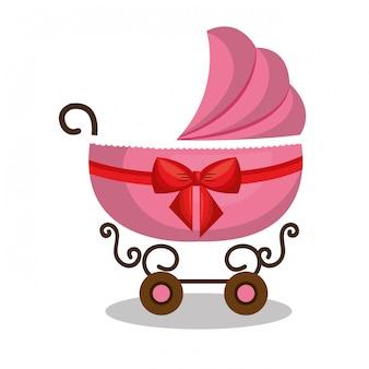 Ícone carrinho de bebê rosa design