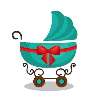Ícone carrinho de bebê verde design