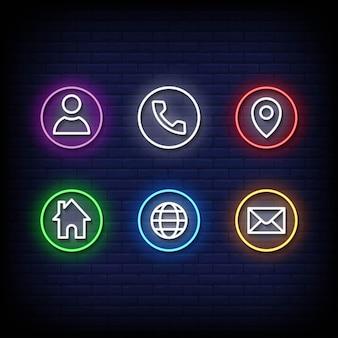 Ícone cartão de visita sinais de néon estilo texto vector