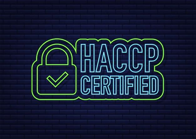 Ícone certificado haccp em fundo escuro. ícone de néon. ilustração em vetor das ações.