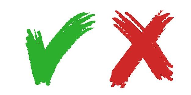 Ícone certo e errado. mão desenhada da marca de seleção verde e a cruz vermelha, isolada no fundo branco. ilustração em vetor.