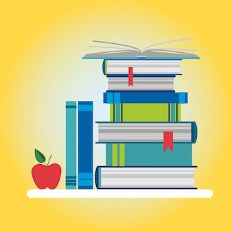 Ícone colorido de pilha de livros