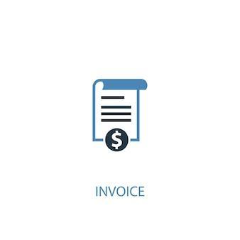Ícone colorido do conceito 2 da fatura. ilustração do elemento azul simples. projeto de símbolo do conceito de fatura. pode ser usado para ui / ux da web e móvel