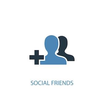 Ícone colorido do conceito 2 de amigos sociais. ilustração do elemento azul simples. design de símbolo de conceito de amigos sociais. pode ser usado para ui / ux da web e móvel