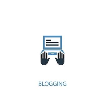 Ícone colorido do conceito 2 de blogging. ilustração do elemento azul simples. projeto de símbolo de conceito de blogging. pode ser usado para ui / ux da web e móvel