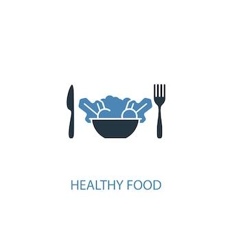 Ícone colorido do conceito 2 de comida saudável. ilustração do elemento azul simples. design de símbolo de conceito de comida saudável. pode ser usado para ui / ux da web e móvel
