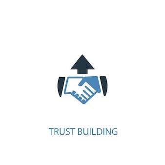 Ícone colorido do conceito 2 de construção de confiança. ilustração do elemento azul simples. confiança, construção de design de símbolo de conceito. pode ser usado para ui / ux da web e móvel