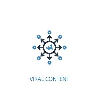 Ícone colorido do conceito 2 de conteúdo viral. ilustração do elemento azul simples. design de símbolo de conceito de conteúdo viral. pode ser usado para ui / ux da web e móvel