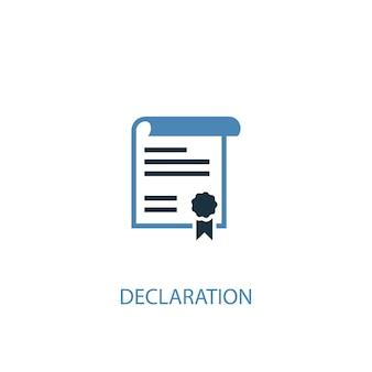 Ícone colorido do conceito 2 de declaração. ilustração do elemento azul simples. declaração conceito símbolo design. pode ser usado para ui / ux da web e móvel