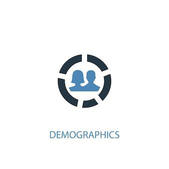 Ícone colorido do conceito 2 de demografia. ilustração do elemento azul simples. design de símbolo de conceito de demografia. pode ser usado para ui / ux da web e móvel