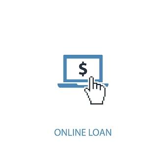 Ícone colorido do conceito 2 de empréstimo online. ilustração do elemento azul simples. design de símbolo de conceito de empréstimo online. pode ser usado para ui / ux da web e móvel
