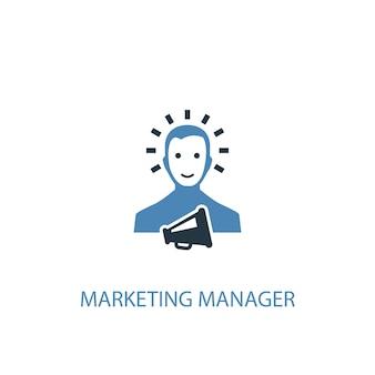Ícone colorido do conceito 2 de gerente de marketing. ilustração do elemento azul simples. projeto de símbolo de conceito de gerente de marketing. pode ser usado para ui / ux da web e móvel