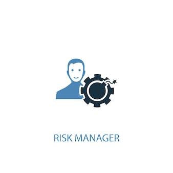Ícone colorido do conceito 2 de gerente de risco. ilustração do elemento azul simples. projeto de símbolo de conceito de gerente de risco. pode ser usado para ui / ux da web e móvel