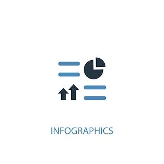 Ícone colorido do conceito 2 de infográficos. ilustração do elemento azul simples. projeto do símbolo do conceito de infografia. pode ser usado para ui / ux da web e móvel