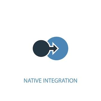 Ícone colorido do conceito 2 de integração nativa. ilustração do elemento azul simples. design de símbolo de conceito de integração nativa. pode ser usado para ui / ux da web e móvel