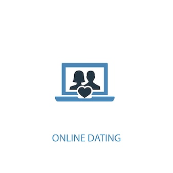 Ícone colorido do conceito 2 de namoro online. ilustração do elemento azul simples. design de símbolo de conceito de namoro online. pode ser usado para ui / ux da web e móvel