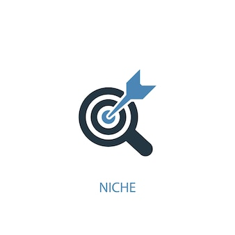 Ícone colorido do conceito 2 de nicho. ilustração do elemento azul simples. design de símbolo de conceito de nicho. pode ser usado para ui / ux da web e móvel
