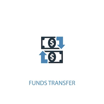 Ícone colorido do conceito 2 de transferência de fundos. ilustração do elemento azul simples. design de símbolo de conceito de transferência de fundos. pode ser usado para ui / ux da web e móvel