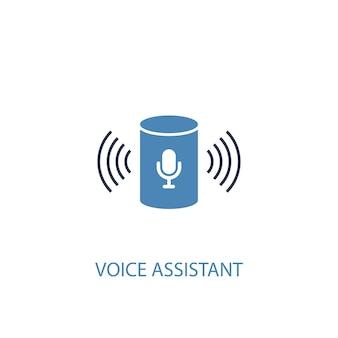 Ícone colorido do conceito 2 do assistente de voz. ilustração do elemento azul simples. design de símbolo de conceito de assistente de voz. pode ser usado para ui / ux da web e móvel