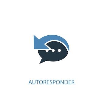 Ícone colorido do conceito 2 do autoresponder. ilustração do elemento azul simples. projeto do símbolo do conceito do autoresponder. pode ser usado para ui / ux da web e móvel