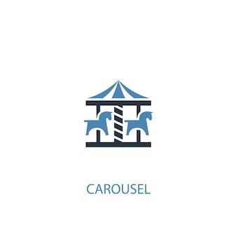 Ícone colorido do conceito 2 do carrossel. ilustração do elemento azul simples. projeto de símbolo do conceito de carrossel. pode ser usado para ui / ux da web e móvel