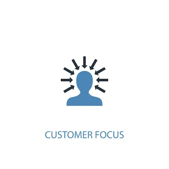 Ícone colorido do conceito 2 do foco do cliente. ilustração do elemento azul simples. projeto de símbolo de conceito de foco no cliente. pode ser usado para ui / ux da web e móvel