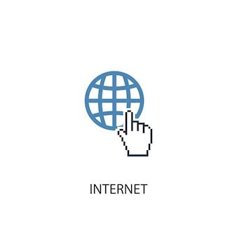 Ícone colorido do conceito 2 do internet. ilustração do elemento azul simples. design de símbolo de conceito de internet. pode ser usado para ui / ux da web e móvel