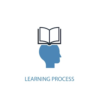 Ícone colorido do conceito 2 do processo de aprendizagem. ilustração do elemento azul simples. design de símbolo de conceito de processo de aprendizagem. pode ser usado para ui / ux da web e móvel