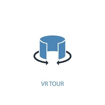 Ícone colorido do conceito 2 do tour vr. ilustração do elemento azul simples. projeto de símbolo do conceito de tour vr. pode ser usado para ui / ux da web e móvel