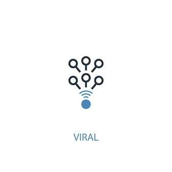 Ícone colorido do conceito 2 viral. ilustração do elemento azul simples. design de símbolo de conceito viral. pode ser usado para ui / ux da web e móvel