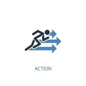 Ícone colorido do conceito de ação 2. ilustração do elemento azul simples. design de símbolo de conceito de ação. pode ser usado para ui / ux da web e móvel