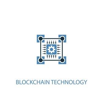 Ícone colorido do conceito de tecnologia blockchain 2. ilustração do elemento azul simples. projeto do símbolo do conceito de tecnologia blockchain. pode ser usado para ui / ux da web e móvel