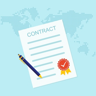 Ícone colorido do contrato de negócios. ilustração vetorial
