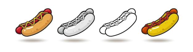 Ícone colorido do vetor de quatro cachorros-quentes isolados no fundo branco