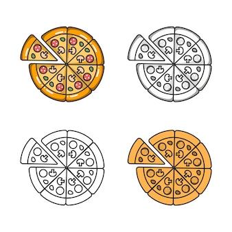 Ícone colorido do vetor de quatro pizzas isoladas no fundo branco