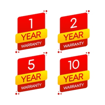 Ícone com garantia plana de ano em fundo branco para design de conceito logotipo de vetor distintivo de realização