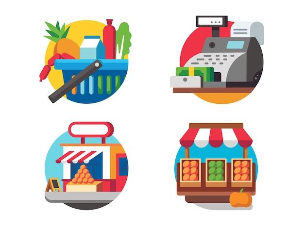 Ícone comercial do conjunto. comprando comida no supermercado. ilustração vetorial