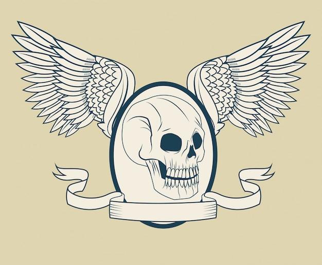 Ícone crânio com asas