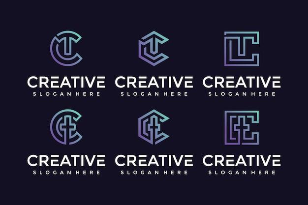 Ícone criativo e elegante do logotipo da carta tc para empresas de luxo