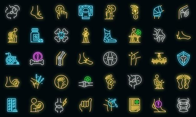 Ícone da artrite. contorno de ícone de vetor de artrite cor neon em preto