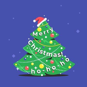 Ícone da árvore de natal com letras de feliz natal como uma guirlanda. símbolo de vetor plana de um abeto verde decorado para celebrar o natal e o feliz ano novo. símbolo de férias com chapéu de papai noel isolado em roxo