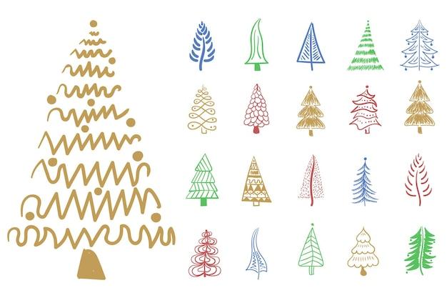 Ícone da árvore de natal pincel desenhado à mão desenho de tinta desenho tinta para decoração festiva de ano novo
